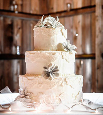Wedding cake against barn wall | Amy Parsons, photographer