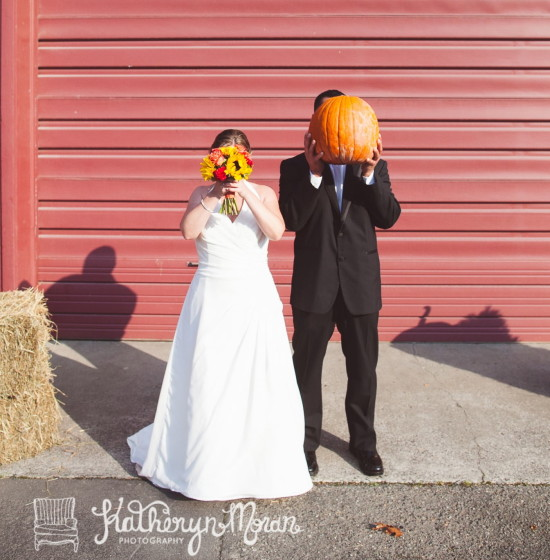 Sunflower bride & pumpkin groom!